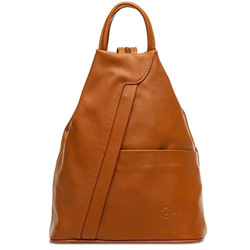 CASPAR TL782 2 in 1 echt Leder Rucksack Handtasche Schultertasche Daypack, Farbe:cognac;Größe:One Size