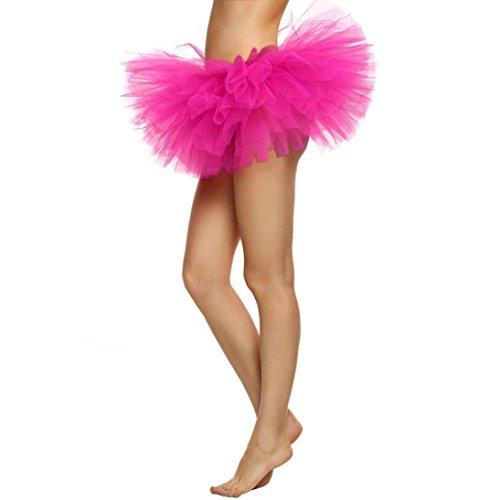 Malloom® Hübsches Mädchen Elastic Stretchy Tüll Kleid Erwachsenen Tutu 5 Schicht Rock (heiß rosa) (Adult Kleine Mädchen-kleid)