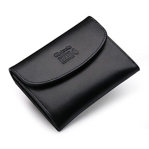 flintronic Portefeuille Cuir, Mode Porte-monnaie Protection RFID Embrayage Portefeuille Femme/Homme Porte Monnaie Elégant, Zipper Boutons, Nior avec B...