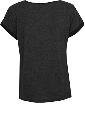 Oui Damen T-Shirt Schwarz Grau