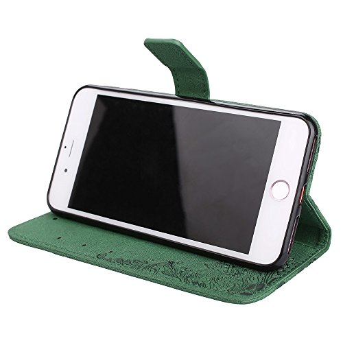 Hülle für iPhone 7 plus , Schutzhülle Für IPhone 7 Plus, Retro PU Leder Schutzhülle Emobssed Phenix Blumen Fall mit glänzenden Resin Rehinestone & Lanyard & Kickstand & Card Slots ,hülle für iPhone 7  Green