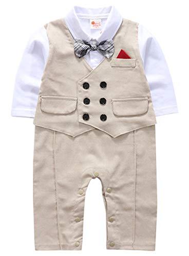 cool elves Baby Jungen Strampler Gentleman Einteiler Smoking Anzug Kleinkind Langarm Fliege Hochzeit Taufgeschenk Khaki Größe 70