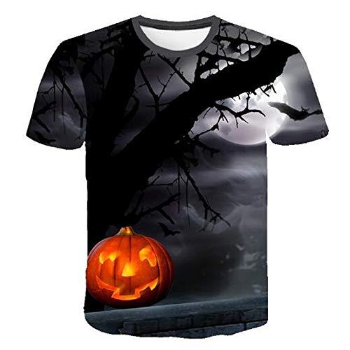 Herren Neuheit T-Shirt 2019 Sommer Casual Kurzarm 3D Digital Gedruckt T Shirt Tops Premium,3D Halloween Print - B Schwarz M