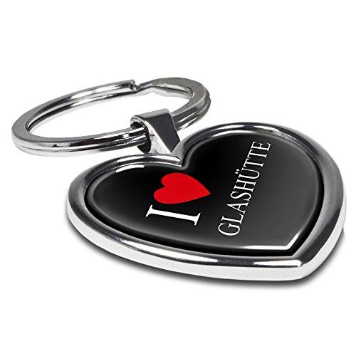 Preisvergleich Produktbild Schlüsselanhänger mit Stadtnamen Glashütte - Motiv I Love - Herz-Schlüsselanhänger, Stadtschlüsselanhänger, personalisierter Anhänger, Herz-Anhänger, Chrom