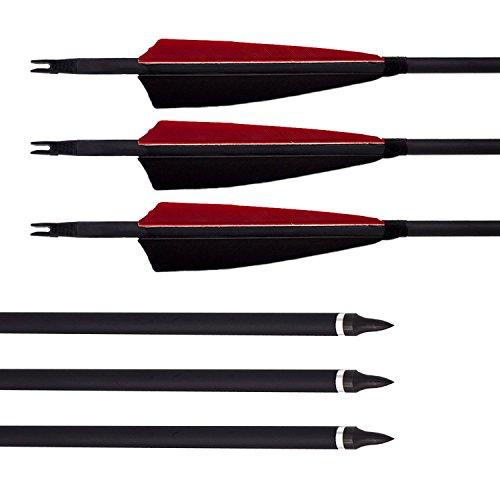 """Bogenpfeile Kohlenstoff Carbon Pfeile Archery sharly, 31 Zoll Fletching 5"""" Naturfeder für traditionelle Bogen, Recurvebogen und Langbogen (Rot und Schwarz) (24 Stück)"""