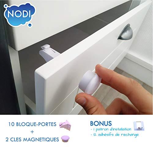 10 Bloque Porte Invisible + 2 clés + BONUS - NODI - HAUTE QUALITÉ - Sécurité placard et tiroir - bébé et enfant - Solution simple et rapide - Ultra résistant - BONUS Notice + Vidéo