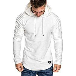 Yvelands con Capucha Camiseta de Manga Larga para Hombre Color sólido a Rayas Plisado Slim fit suéter Outwear Invierno de otoño, liquidación! (Blanco, XL)