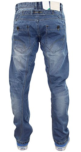 Neue Herren Designer Crosshatch Branded Banana Bein Twisted Engineered Skinny Jeans Mid Wash