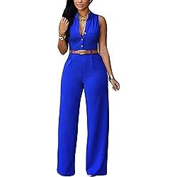 Zilcremo L'ensemble Complet Chic sans Manches pour Les Femmes avec Ceinture Combinaisons Blue XL