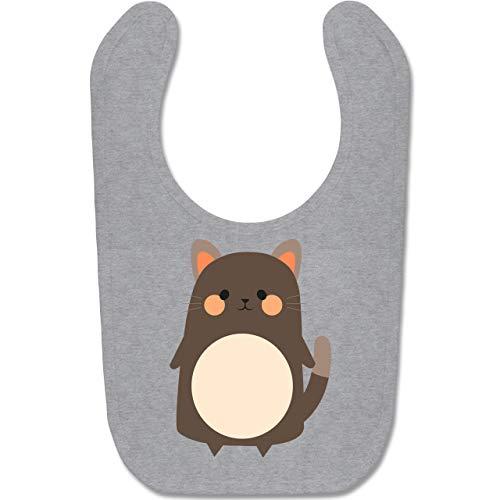 und Fasching Baby - Fasching Kostüm Katze - Unisize - Grau meliert - BZ12 - Baby Lätzchen Baumwolle ()