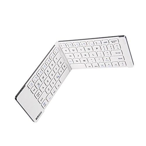 magideal tragbar Kabelloser Bluetooth-Tastatur faltbar für PC Computer Telefon Tablet Windows Android iOS, mit Halterung und USB-Kabel weiß weiß