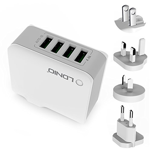 4 USB Plug Charger , Oria Travel Charger Adapter, 22W/5V 4.4A Wall Charger Plug, with 3 Interchangeable Worldwide UK/AU/EU Adapter for iPhone 7/6s/6/Plus and More Android phones, Tablet, Kindle, Power Bank Test