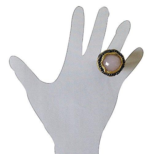 Anello tondo in argento e quarzorosa