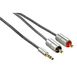 Hama 80864 Câble de liaison AluLine fiche jack 3,5mm stéréo 2 fiches RCA 1m
