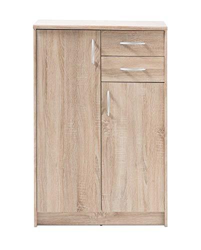 Kommode Highboard Mehrzweckschrank | Dekor | Eiche Sonoma | 2 Türen | 2 Schubladen - Braun 7 Schublade Kommode