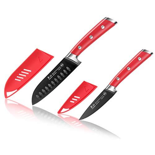 Cangshan S + Serie 1022131 Deutsches 2-teiliges Santoku Starter-Messerset mit Scheiden und Titanbeschichtung, Schmiedestahl, Jupiter-Rot Santoku-starter-set