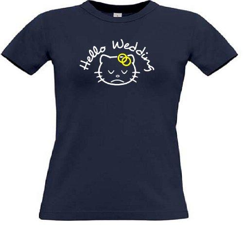 T-Shirt für den Junggesellinnenabschied mit dem Motiv Hello Wedding Navy
