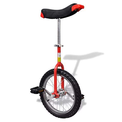 WOLJW 16 Zoll Höhenverstellbares Training Fahrrad Balance Fahrrad Einrad Jungen Mädchen Übung (Rot)