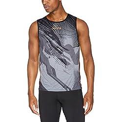 Luanvi Thunder - Camiseta de deporte sin mangas, Hombre, Negro y Naranja,M