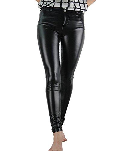 cooshional Damen Lederhose Stretch Skinny Leggings Kunstleder Hose