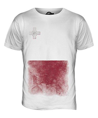 CandyMix Malta Verblichen Flagge Herren T Shirt Weiß