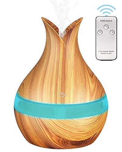Brilex Madera Humidificador Aromaterapia Ultrasónico con Control Remoto, Brilex I Difusor de Aceites Esenciales 300ml,Difusor Aroma de Vapor Frío con 7 Colores de LED y para Bebé Yoga Oficina