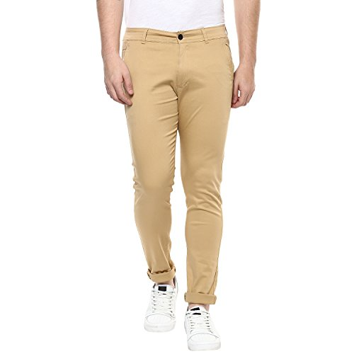 Routeen Tan 100% Cotton Lycra Casual Slim Fit stretchable Chinos Trousers pants for Men