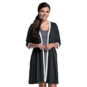 Zeta-Ville-Premam-CamisnBata-Pijama-Mezcla-Y-COMBINA-para-Mujer-591c-Bata-Grafito-Melange-EU-44-2XL