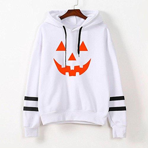 Vovotrade Femmes Halloween Longue Manche Sweat à capuche Sweat-shirt Sauteur Encapuchonné Arrêtez-vous Tops Chemisier Blanc