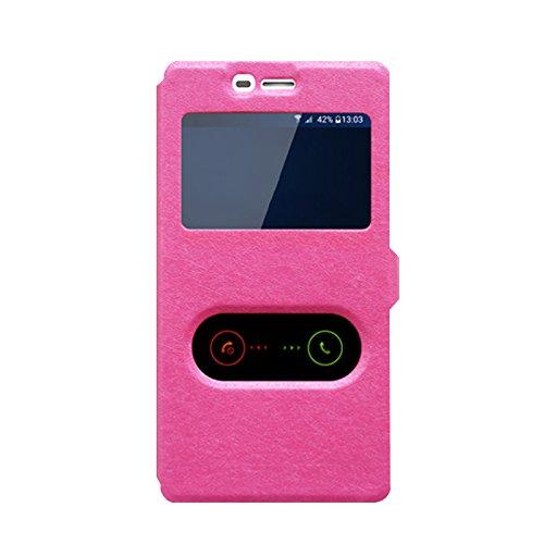 OPPO Joy 3 A11 Hülle, CaseFirst Leder Handyhülle Stoßfest Schutzhülle Brieftasche Hülle Magnet Cover Geldbörse Hülle Anti-kratzer PU Leather Wallet Case mit Supporter (Pink)