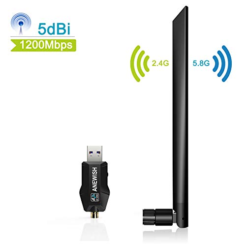 ANEWISH 1200Mbps WiFi Adaptor USB 3.0 WiFi Stick with 5G 866Mbps + 2.4G 5dBi Antenna Dual Band 300 Mbps WiFi Adapter for Windows XP/Vista/7/8/Mac OS 10