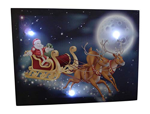 UK-Gardens Santa Schlitten mit Rentier Festive Weihnachten Bild mit LED-Lichtern batteriebetrieben Timer Lichtwellenleiter Leinwand drucken 30x 40cm