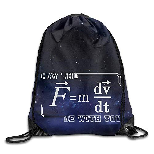 May The (F=mdv/dt) Be with You Physics Science Drawstring Backpack String Bag -