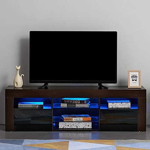 Ruication Moderner LED-TV-Schrank weiß matt Korpus weiß Hochglanz Front TV-Ständer RGB Lichter Sideboard Möbel für Wohnzimmer Schlafzimmer Büro 135 cm Brown Body & Black Fronts (Licht-holz-tv-ständer)