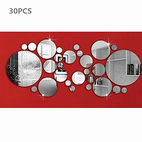 30 Piezas Circulo Espejo Pegatinas de Pared Bricolaje Redondo Art Calcomanías de Pared para Casa Sala...