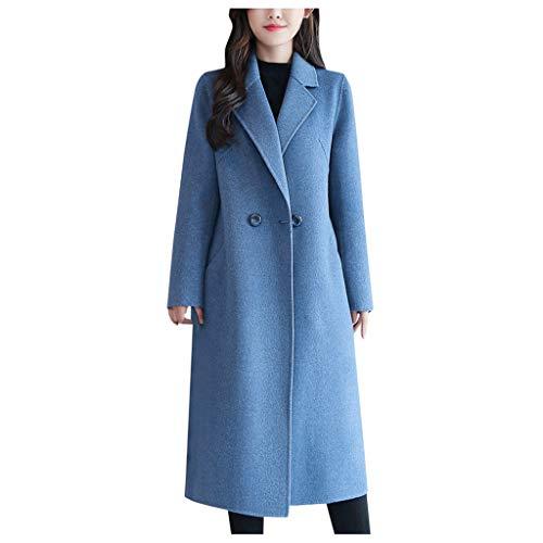 Donna Giacche Cappotto Toamen Risvolto Faux Lana Inverno Caldo Trincea Lungo Eskimo Cappotto Outwear Top Pulsante Vintage Giacca Cappotto(Cielo Blu,X-Large)