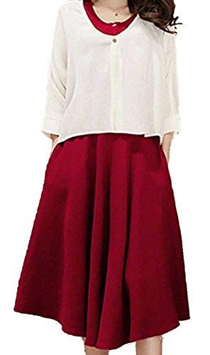 URqueen Women's Fashion Solid Round Collar Button Front Midi 2Pcs Dress red