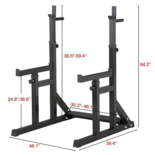 Popamazing-Adjustable-Heavy-Duty-Squat-Rack-Stand-Dip-Stand-Dip-Rack-with-Spotter