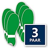 3 Paar Boden Fußaufkleber  in grün – abriebfest, selbstklebend & rutschhemmend – Schuhabdruck Fußboden je 120x320 mm in grün