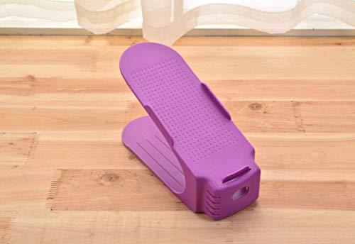 Salamii Tragbares Schuhregal, einteilig, doppelschichtig, platzsparend, Plastik, violett, 25x10cm