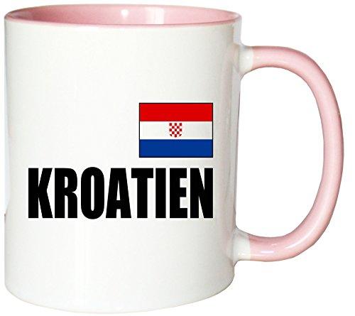 Mister Merchandise Kaffeetasse Kroatien Fahne Flag Teetasse Becher, Farbe: Weiß-Rosa