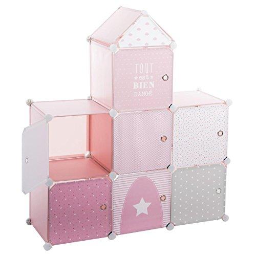 meuble-de-rangement-colonne-forme-chateau-coloris-rose-gris-et-blanc