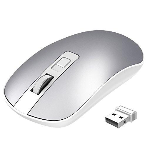Laptop Maus, TOPELEK PC Maus Optical Business Mouse Schnurlos Computer Wireless 2.4G Intelligente Drahtlose Mäuse Geräuschlose Klicken, dünn und tragbar, geeignet Silber