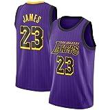 VICTOREM Lebron James #23 Maglia da Basket per Uomo - NBA Lakers Jersey, Nuovo Tessuto Ricamato Camicia T-Shirt Sportive Swingman (M-XXL) (Viola, S (170cm/50-65kg))