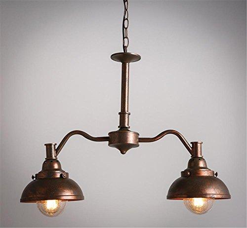 BZJBOY Lampade a sospensione bronzo Vintage lampadari illuminazione vecchio lampadario in ferro battuto soggiorno sala (Vecchio Bronzo 2 Lampadina)