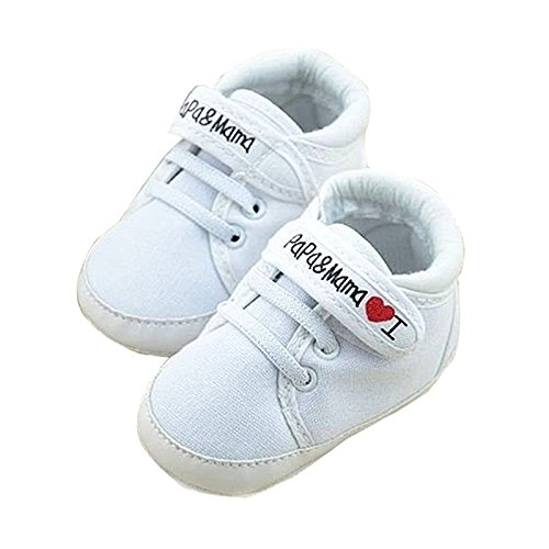 Saeugling Schuhe - SODIAL(R) Neugeborenes Saeugling Baby Ich liebe Papa Mama Weiche Sohle Crip Sportschuhe Turnschuhe laessig 0 ~ 6 Monate 11cm weiss