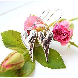 Ohrhänger lang mit Herzen Anhänger Silber vintage shabby-chic lässig