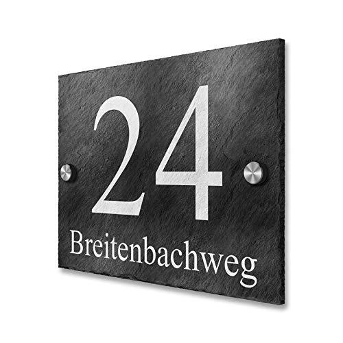 Hausnummer-Schild Natur-Schiefer rustikal inkl. Gravur
