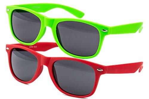 2 er Set EL-Sunprotect Sonnenbrille Nerdbrille Brille Nerd Matt Gummiert Rot + Grün