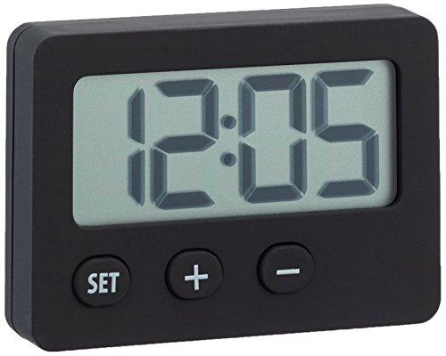 TFA Dostmann 60.2013.01 Digitaluhr, kleine Uhr, Mini, als Autouhr oder Tischuhr verwendbar, 5,8 x 3,6 x 2,3 cm, schwarz, Gummibeschichtung